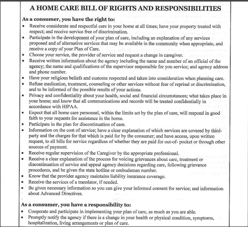 NJ Home Health Care Client Bill Of Rights